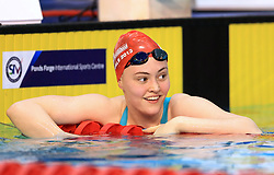Freya Rayner celebrates winning the Women's Target Tokyo 50m Freestyle Final during day three of the 2017 British Swimming Championships at Ponds Forge, Sheffield. PRESS ASSOCIATION Photo. Picture date: Thursday April 20, 2017. See PA story SWIMMING Sheffield. Photo credit should read: Tim Goode/PA Wire