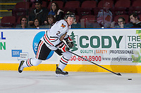 KELOWNA, CANADA - OCTOBER 4:   Anton Cederholm #2 of Portland Winterhawks skates with the puck at the Kelowna Rockets on October 4, 2013 at Prospera Place in Kelowna, British Columbia, Canada (Photo by Marissa Baecker/Shoot the Breeze) *** Local Caption ***