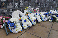 Floral tribute for Howard Kendall outside Goodison Park, Liverpool.<br /> Picture by Michael Sedgwick/Focus Images Ltd +44 7900 363072<br /> 01/11/2015