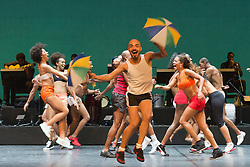 "© Licensed to London News Pictures. 07/07/2014. London, England. Wellington Lopes Jack at the front. Claudio Segovia's show ""Brasil Brasileiro"" opens at Sadler's Wells Theatre with 35 performers from Rio de Janeiro. Conceived and directed by Claudio Segovia, this Brazilian music and dance show runs from 8-27 July 2014.  Photo credit: Bettina Strenske/LNP"