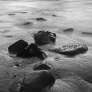 Low Tide Shoreline - Dusk - Pfeiffer State Beach - Big Sur, CA - Black & White
