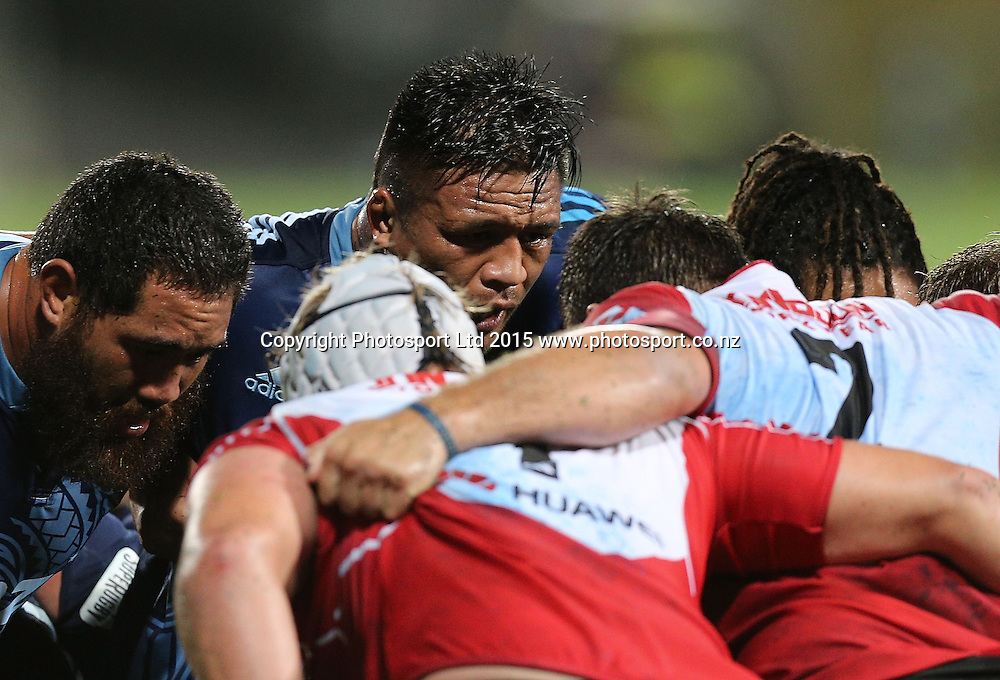 Blues` Keven Mealamu gets ready for a scrum in the Super Rugby Match, Blues v Lions, QBE Stadium, Albany, Auckland, New Zealand, Saturday, March 07, 2015. Copyright photo: David Rowland/www.photosport.co.nz