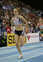 Photo: Rich Eaton.<br /> <br /> EAA European Athletics Indoor Championships, Birmingham 2007. 03/03/2007. Nicola Sanders completes the first lap on her way to winning gold in the womens 400m final
