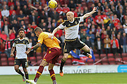 Willo Flood challenges the ball during the Ladbrokes Scottish Premiership match between Motherwell and Aberdeen at Fir Park, Motherwell, Scotland on 15 August 2015. Photo by Craig McAllister.