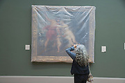 a woman photographing a painting by Rubens which is covered with semi clear plastic Metropolitan Museum of Art New York
