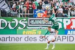 14.07.2019, Allianz Stadion, Wien, AUT, Testspiel, SK Rapid Wien vs 1. FC Nuernberg, im Bild v. l. Marvin Potzmann (SK Rapid Wien), Oliver Sorg (1. FC Nuernberg) // f. l. Marvin Potzmann (SK Rapid Wien) Oliver Sorg (1. FC Nuernberg) during a test match for the upcoming Season between SK Rapid Wien and 1. FC Nuernberg in Allianz Stadion in Wien, Austria on 2019/07/14. EXPA Pictures © 2019, PhotoCredit: EXPA/ Florian Schroetter