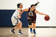 North Country's Kylie Wright (24) dribbles the ball past MMU's Perry Willett (5) during the girls basketball game between the North Country Falcons and the Mount Mansfield Cougars at MMU high school on Monday night February 15, 2016 in Jericho. (BRIAN JENKINS/for the FREE PRESS)