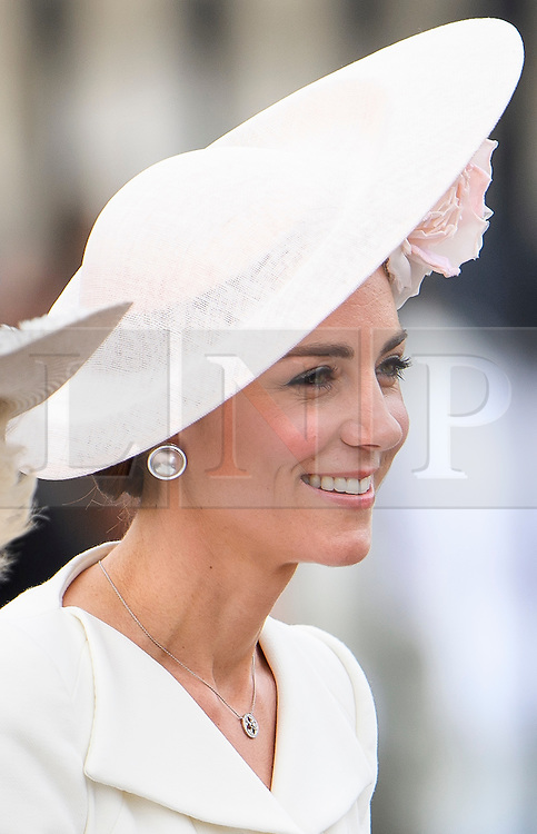 © Licensed to London News Pictures. 11/06/2016. London, UK. CATHERINE, DUCHESS OF CAMBRIDGE, in a horse drawn carriage during the Trooping The Colour ceremony in London. This years event is part of a weekend of celebration to mark the 90th birthday of Queen Elizabeth II, who is Britain's longest reigning monarch. Photo credit: Ben Cawthra/LNP