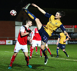 Milan Djuric of Bristol City stretches in attempt to shoot  - Mandatory by-line: Matt McNulty/JMP - 17/01/2017 - FOOTBALL - Highbury Stadium - Fleetwood,  - Fleetwood Town v Bristol City - Emirates FA Cup Third Round Replay
