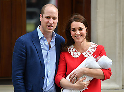 File photo dated 23/04/2018 of the Duke and Duchess of Cambridge leaving the St Mary's Hospital, London with their newborn son. They have announced that the new prince has been named Louis Arthur Charles.