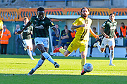 Freddie Ladapo (19) of Plymouth Argyle shoots at goal and misses the target during the EFL Sky Bet League 1 match between Plymouth Argyle and Burton Albion at Home Park, Plymouth, England on 20 October 2018.