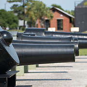 SULLIVAN'S ISLAND, South Carolina - Cannons at Battery Jasper (1898-1943), the primary Endicott System battery on Sullivan's Island. The battery was named for Sgt. William Jasper. Fort Moultrie is part of the Fort Sumter National Monument at the entrance to Charleston Harbor in South Carolina. The fort has played a crucial role in defending the harbor from the time of the Revolutionary War through World War II. During that time it has undergone multiple upgrades, from the original palmetto log walls to the newer heavily fortified earthen bunkers.