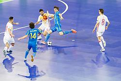 Rafa Usin of Spain and Volodymyr Razuvanov of Ukraine during futsal quarterfinal match between National teams of Ukraine and Spain at Day 8 of UEFA Futsal EURO 2018, on February 6, 2018 in Arena Stozice, Ljubljana, Slovenia. Photo by Urban Urbanc / Sportida