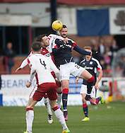 Dundee&rsquo;s Marcus Haber oujumps Rangers&rsquo; Danny Wilson - Dundee v Rangers in the Ladbrokes Scottish Premiership at Dens Park, Dundee.Photo: David Young<br /> <br />  - &copy; David Young - www.davidyoungphoto.co.uk - email: davidyoungphoto@gmail.com