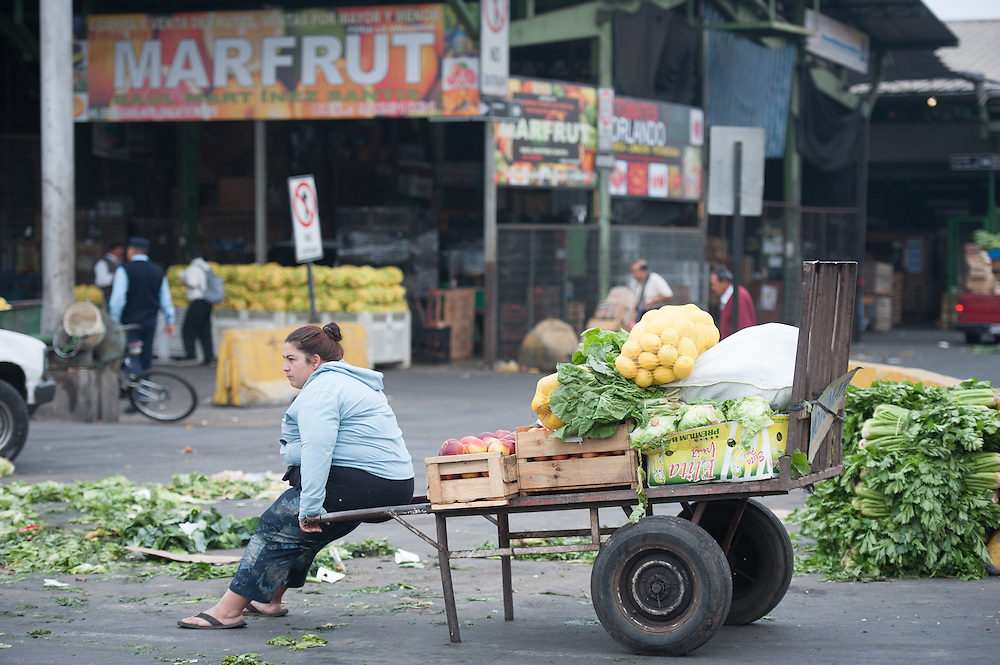 Worker sitting with vegetables in a truck at Lo Valledor central wholesale produce market in Santiago, Chile