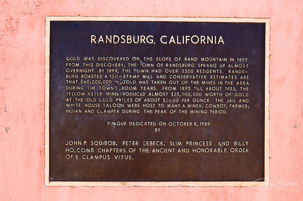 Historical plaque at the ghost town of Randsburg, California