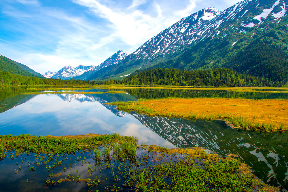 A stunning fall view of Tern Lake on the Kenai Peninsula in Alaska.