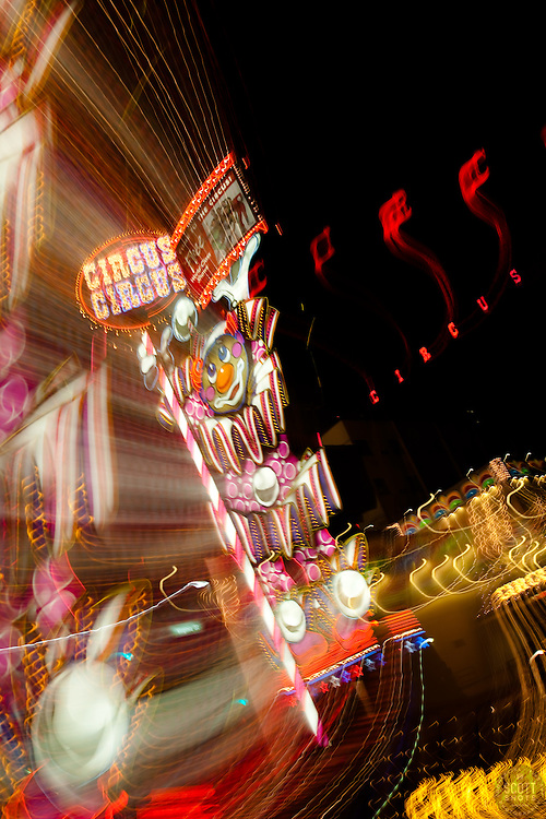 """Circus Circus, Reno""  This Circus Circus sign was photographed in Downtown Reno, Nevada. The effect was obtained in camera by long exposure mixed with intentional camera movement."