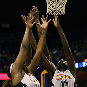 Kelsey Bone, (left), and Chiney Ogwumike, Connecticut SUn, combine to rebound during the Connecticut Sun Vs Los Angeles Sparks WNBA regular season game at Mohegan Sun Arena, Uncasville, Connecticut, USA. 3rd July 2014. Photo Tim Clayton
