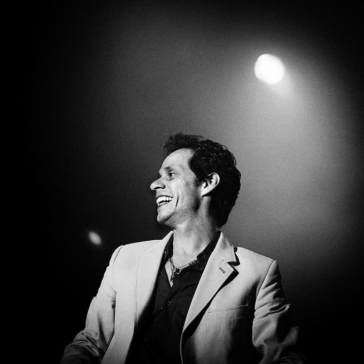 Puerto Rican salsa singer Marc Anthony performs at Arona Stadium in Canary island of Tenerife, Spain, on Saturday, June 21, 2008.