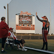 Pitcher, Monica Abbott, talks with elderly fans before the game. <br /> <br /> Todd Spoth for The New York Times.