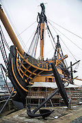 HMS Victory in the historical dockyard, Portsmouth, UK.