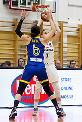 Sonia Ursu of Romania and Rebeka Abramovic of Slovenia during basketball match between National teams of Slovenia and Romania in 4. round of FIBA Women's EuroBasket 2019 Qualifiers, on February 14, 2018 in Dvorana Gimnazija Celje - Center, Slovenia. Photo by Urban Urbanc / Sportida