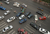 Traffic jam in central Beijing.