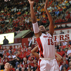 Jan. 3, 2008; Piscataway, NJ, USA; Rutgers center Kia Vaughn (15) lays up a basket during the first half of the Tennessee Lady Vols' victory over the Rutgers Scarlet Knights, 55-51 at the Louis Brown Athletic Center.