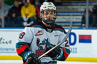 KELOWNA, BC - DECEMBER 30: Noah Dorey #28 of the Kelowna Rockets skates to the bench against the Prince George Cougars  at Prospera Place on December 30, 2019 in Kelowna, Canada. (Photo by Marissa Baecker/Shoot the Breeze)