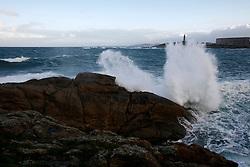 SPAIN GALICIA LA CORUNA 17DEC11 - Heavy sea pounds the coastline near the lighthouse of La Coruna, Galicia, Spain...jre/Photo by Jiri Rezac..© Jiri Rezac 2011