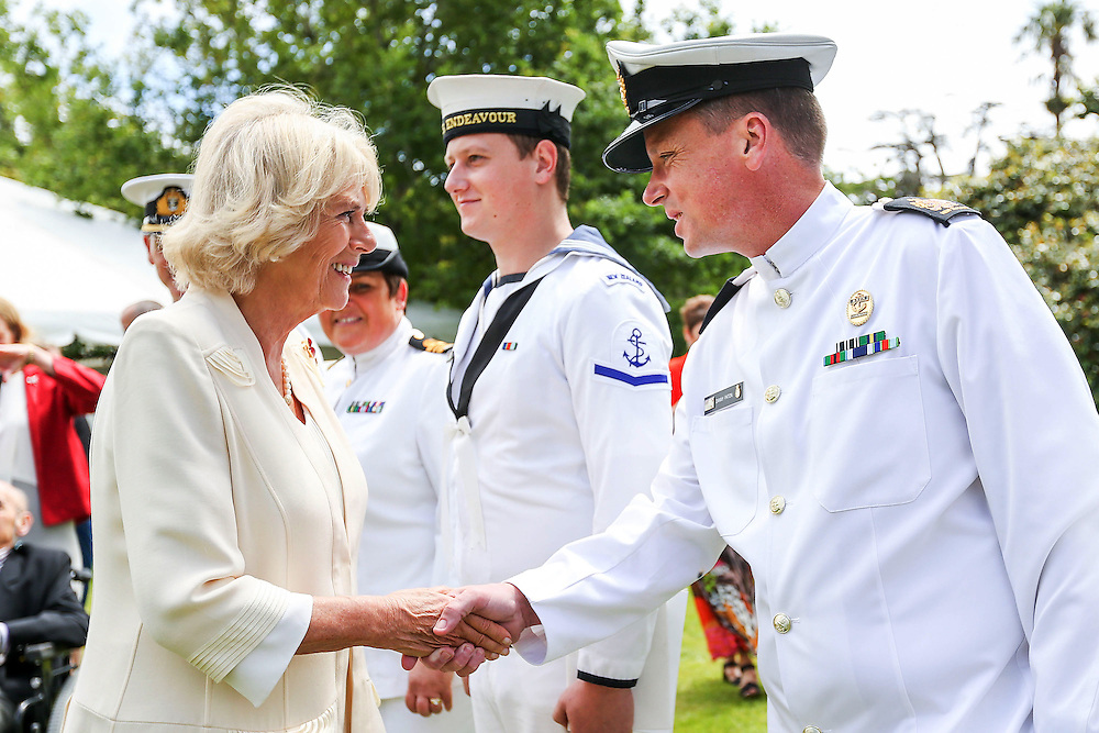 Camilla, Duchess of Cornwall meets Danny Paton of the Royal New Zealand Navy during the 'Tea With Taranaki' event at Brooklands Park, New Plymouth, New Zealand, New Zealand, Monday, November 09, 2015. Credit:SNPA / Getty, Hagen Hopkins  **POOL**