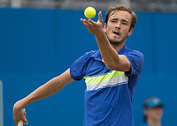 Tennis - 2017 Aegon Championships [Queen's Club Championship] - Day Four, Thursday <br /> <br /> Men's Singles: Round of 16 - Daniil MEDVEDEV (RUS) Vs Thanasi KOKKINAKIS (AUS)<br /> <br /> Danil Medvedev (RUS) serving on centre court at Queens Club<br /> <br /> COLORSPORT/DANIEL BEARHAM