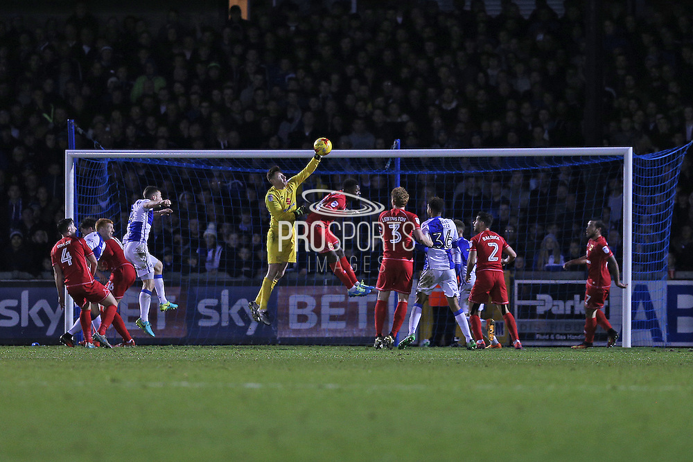 MK Dons keeper David Martin (1) catches the ball from a last minute corner second half 0-0 during the EFL Sky Bet League 1 match between Bristol Rovers and Milton Keynes Dons at the Memorial Stadium, Bristol, England on 19 November 2016. Photo by Gary Learmonth.