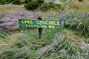 Crucible Lake Track side trip from the Gillespie Pass Circuit in Mount Aspiring National Park, in the Southern Alps. Makarora, Otago region, South Island of New Zealand. UNESCO lists Mount Aspiring as part of Wahipounamu - South West New Zealand World Heritage Area.