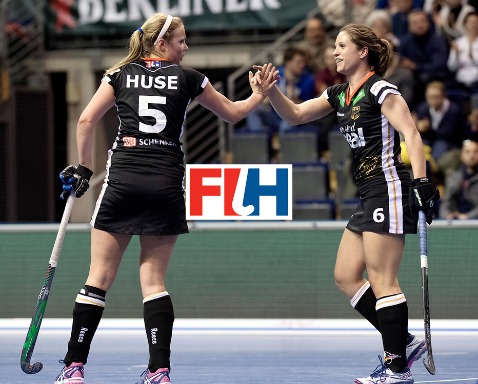 BERLIN - Indoor Hockey World Cup<br /> Women: Germany - Namibia<br /> foto: HUSE Viktoria and Luisa Steindor.<br /> WORLDSPORTPICS COPYRIGHT FRANK UIJLENBROEK