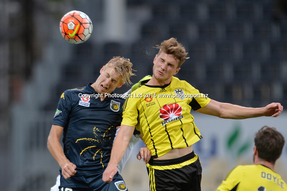 Josh Bingham of the Mariners and Dylan Fox of the Phoenix (L-R) in header action during the round 17 A-League match between the Wellington Phoenix and the Central Coast Mariners at AMI Stadium in Christchurch, New Zealand. 30 January 2016. Photo: Kai Schwoerer / www.photosport.nz