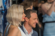 Jennifer Lawrence (Raven/Mystique) with James McAvoy - The 'global fan screening' of Twentieth Century Fox's X-Men Apocalypse at the BFI IMAX at Waterloo.