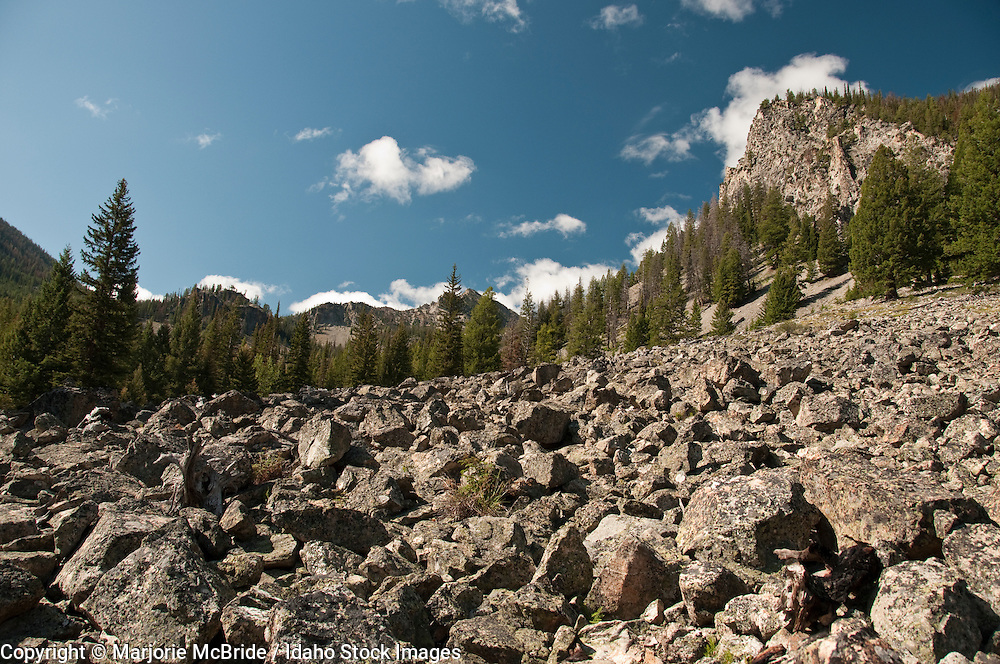 Hiking in the Frank Church Wilderness, scenic view of rock field, Idaho.