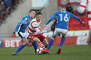Mark Kitching and Matty Done combine to win the ball during the The FA Cup 3rd round match between Doncaster Rovers and Rochdale at the Keepmoat Stadium, Doncaster, England on 6 January 2018. Photo by Daniel Youngs.