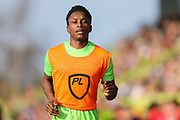 Forest Green Rovers Shawn McCoulsky(21) warming up during the EFL Sky Bet League 2 match between Forest Green Rovers and Milton Keynes Dons at the New Lawn, Forest Green, United Kingdom on 30 March 2019.