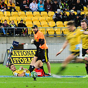 Jordie Barrett kicks while Beauden Barrett looks on during the super rugby union game between Hurricanes and Chiefs, played at Westpac Stadium, Wellington, New Zealand on 13 April 2018. Hurricanes won 25-13.