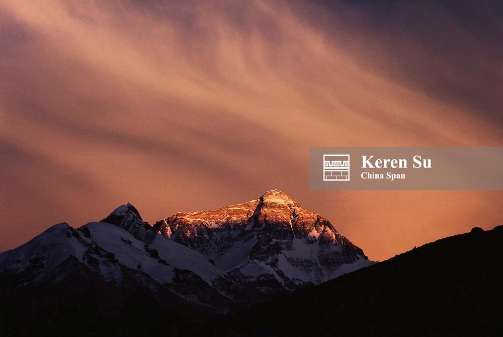 Mt Everest at sunset, Tibet, China