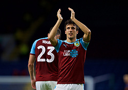 BURNLEY, ENGLAND - Thursday, August 16, 2018: Burnley's Jack Cork celebrates scoring the only goal to seal a 1-0 extra-time victory during the UEFA Europa League Third Qualifying Round 2nd Leg match between Burnley FC and İstanbul Başakşehir at Turf Moor. (Pic by David Rawcliffe/Propaganda)