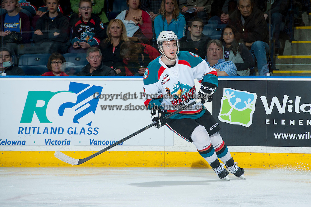 KELOWNA, CANADA - APRIL 5: Jesse Lees #2 of the Kelowna Rockets skates against the Seattle Thunderbirds on April 5, 2014 during Game 2 of the second round of WHL Playoffs at Prospera Place in Kelowna, British Columbia, Canada.   (Photo by Marissa Baecker/Getty Images)  *** Local Caption *** Jesse Lees;