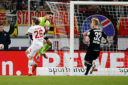 04.02.2015, RheinEnergieStadion, Köln, GER, 1. FBL, 1. FC Köln vs VfB Stuttgart, 19. Runde, im Bild Torwart Sven Ulreich (VfB Stuttgart #1) gegen Bard Finne (1. FC Koeln #26) // during the German Bundesliga 19th round match between 1. FC Cologne and VfB Stuttgart at the RheinEnergieStadion in Köln, Germany on 2015/02/04. EXPA Pictures © 2015, PhotoCredit: EXPA/ Eibner-Pressefoto/ Schueler<br /> <br /> *****ATTENTION - OUT of GER*****