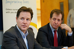 ***EMBARGO 00:01 MONDAY 20th JANUARY 2014***© licensed to London News Pictures. London, UK 16/01/2014. The Deputy Prime Minister Nick Clegg and Alistair Campbell meeting patients and staff of Princess Royal University Hospital's mental health unit in Kent on Thursday 16 January 2014, ahead of a major announcement and conference about the future of mental health services to be made on Monday, 20 January 2014. Photo credit: Tolga Akmen/LNP