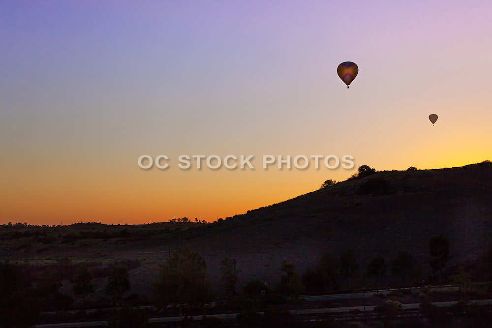 Hot Air Balloon Silhouette Flying at Sunset in San Diego California