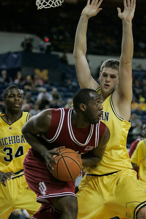 08 January 2008: Indiana forward  D.J. White (3) as the Indiana Hoosiers played the Michigan Wolverines in a college basketball game in Ann Arbor, Mich.