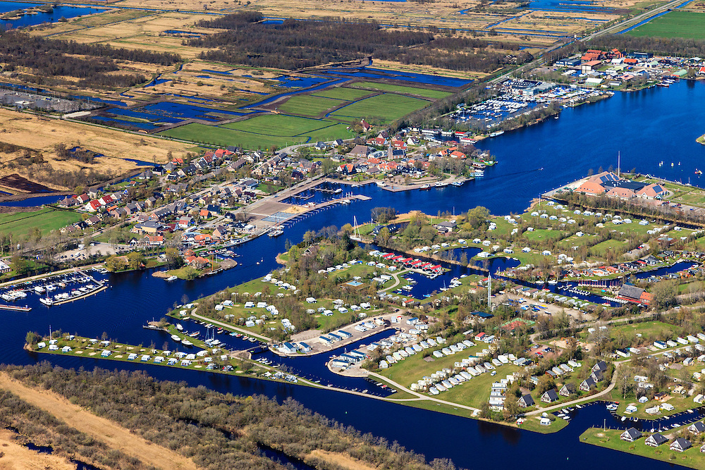 Nederland, Friesland, Gemeente Tietjerksteradeel, 01-05-2013; Camping en Bungalowpark It Wiid, gelgen op de grens van Nationaal Park De Alde Feanen (De Oude Venen), Eernewoude.<br /> Camping and recreation park in nature reserve and National Park De Alde Feanen (Old Peat Area), Eernewoude.<br /> Culture landscape, partly resulting from peat digging. Northern Netherlands.<br /> luchtfoto (toeslag op standard tarieven)<br /> aerial photo (additional fee required)<br /> copyright foto/photo Siebe Swart